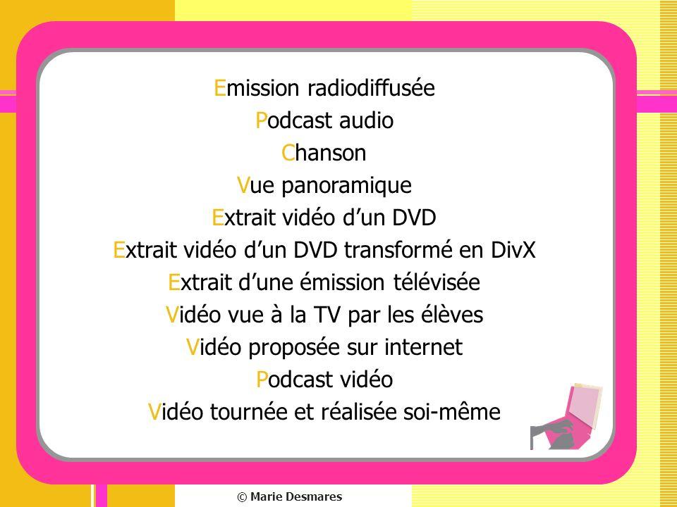 © Marie Desmares Emission radiodiffusée Podcast audio Chanson Vue panoramique Extrait vidéo dun DVD Extrait vidéo dun DVD transformé en DivX Extrait d