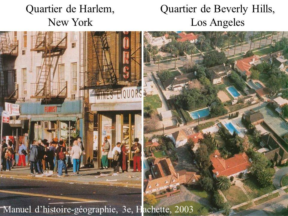 Quartier de Harlem, New York Quartier de Beverly Hills, Los Angeles Manuel dhistoire-géographie, 3e, Hachette, 2003
