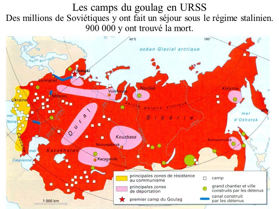 Les camps du goulag en URSS Des millions de Soviétiques y ont fait un séjour sous le régime stalinien. 900 000 y ont trouvé la mort.