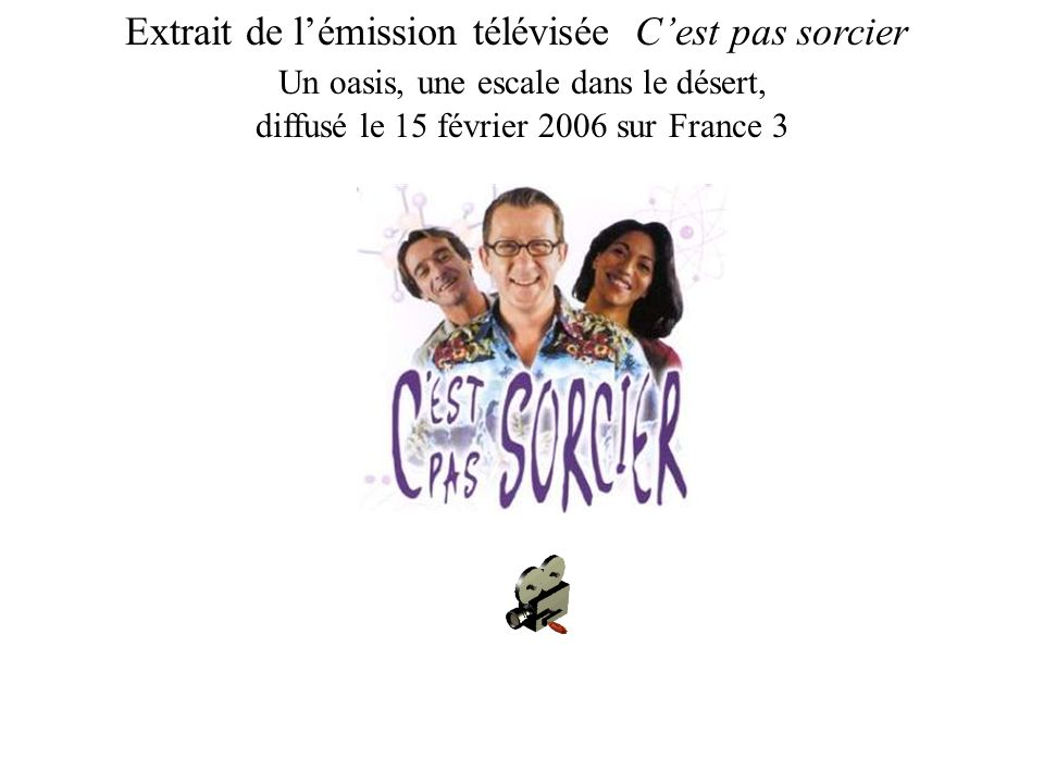 Extrait de lémission télévisée Cest pas sorcier Un oasis, une escale dans le désert, diffusé le 15 février 2006 sur France 3
