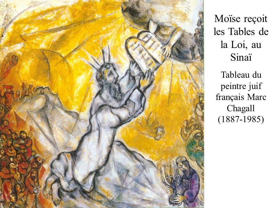Moïse reçoit les Tables de la Loi, au Sinaï Tableau du peintre juif français Marc Chagall (1887-1985)