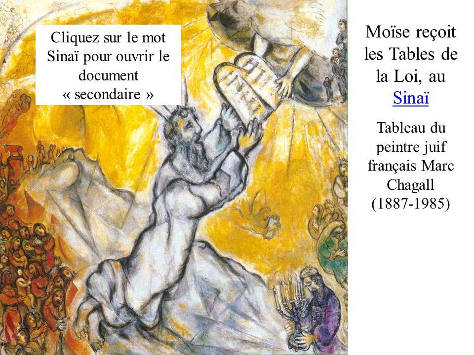 Moïse reçoit les Tables de la Loi, au Sinaï Tableau du peintre juif français Marc Chagall (1887-1985) Cliquez sur le mot Sinaï pour ouvrir le document