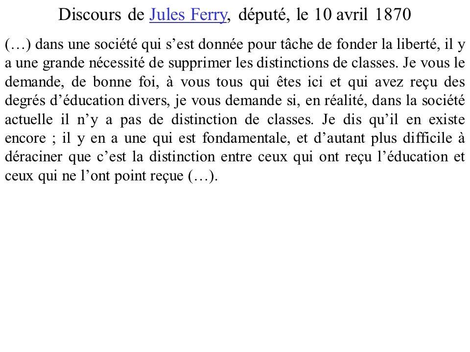 Discours de Jules Ferry, député, le 10 avril 1870 (…) dans une société qui sest donnée pour tâche de fonder la liberté, il y a une grande nécessité de