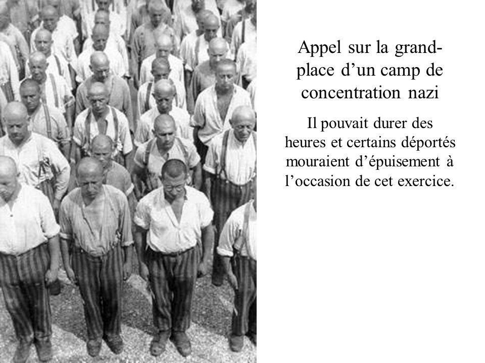 Appel sur la grand- place dun camp de concentration nazi Il pouvait durer des heures et certains déportés mouraient dépuisement à loccasion de cet exe