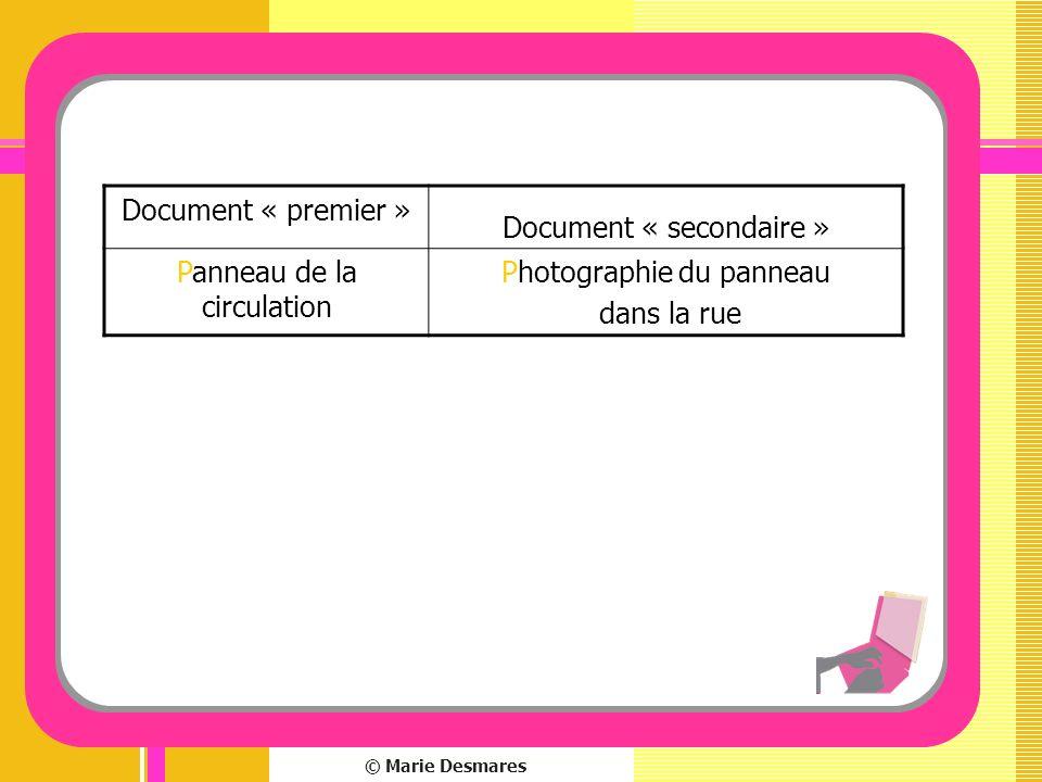 © Marie Desmares Document « premier » Document « secondaire » Panneau de la circulation Photographie du panneau dans la rue