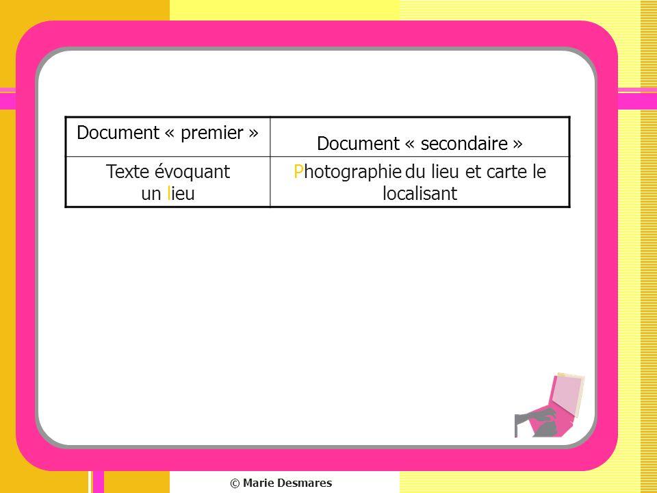 © Marie Desmares Document « premier » Document « secondaire » Texte évoquant un lieu Photographie du lieu et carte le localisant