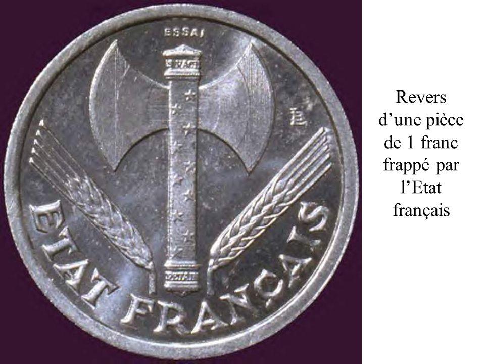 Revers dune pièce de 1 franc frappé par lEtat français