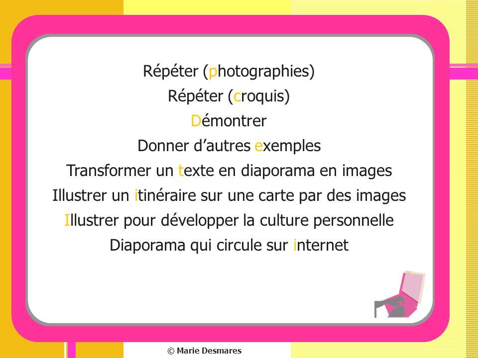 © Marie Desmares Répéter (photographies) Répéter (croquis) Démontrer Donner dautres exemples Transformer un texte en diaporama en images Illustrer un