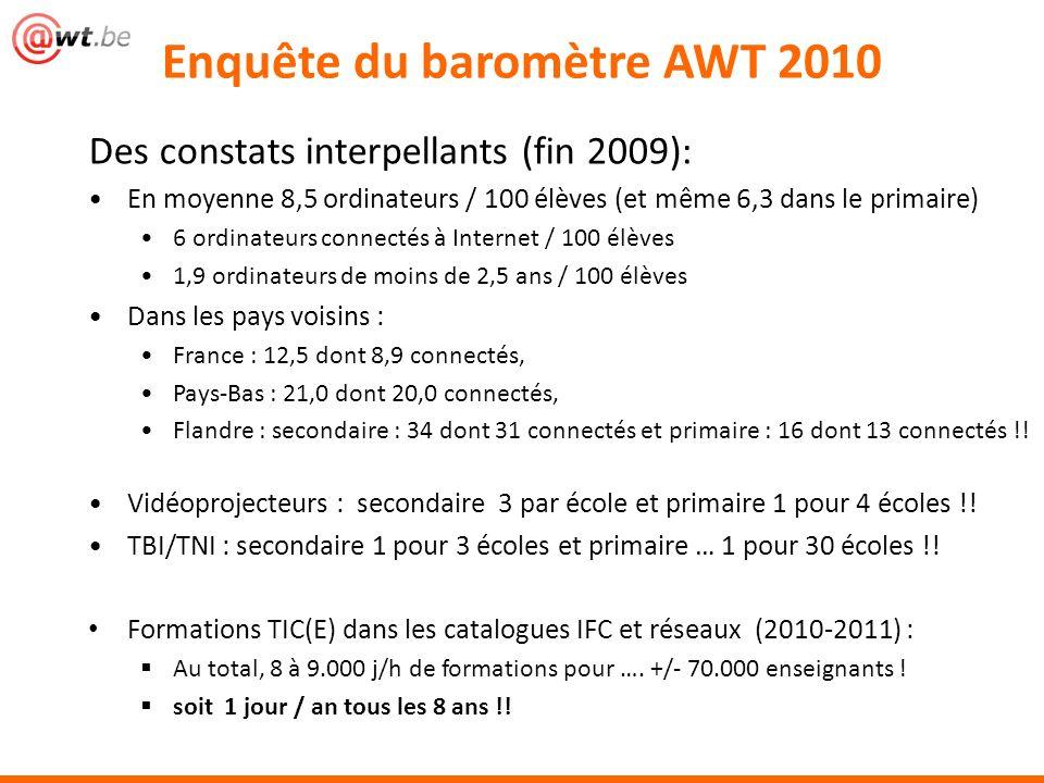 Des constats interpellants (fin 2009): En moyenne 8,5 ordinateurs / 100 élèves (et même 6,3 dans le primaire) 6 ordinateurs connectés à Internet / 100 élèves 1,9 ordinateurs de moins de 2,5 ans / 100 élèves Dans les pays voisins : France : 12,5 dont 8,9 connectés, Pays-Bas : 21,0 dont 20,0 connectés, Flandre : secondaire : 34 dont 31 connectés et primaire : 16 dont 13 connectés !.