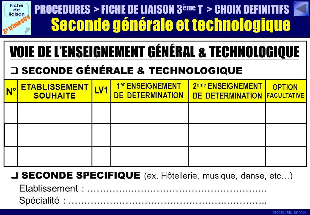 SECONDE GÉNÉRALE & TECHNOLOGIQUE 3 e trimestre N° ETABLISSEMENT SOUHAITE LV1 1 er ENSEIGNEMENT DE DETERMINATION 2 ème ENSEIGNEMENT DE DETERMINATION OP