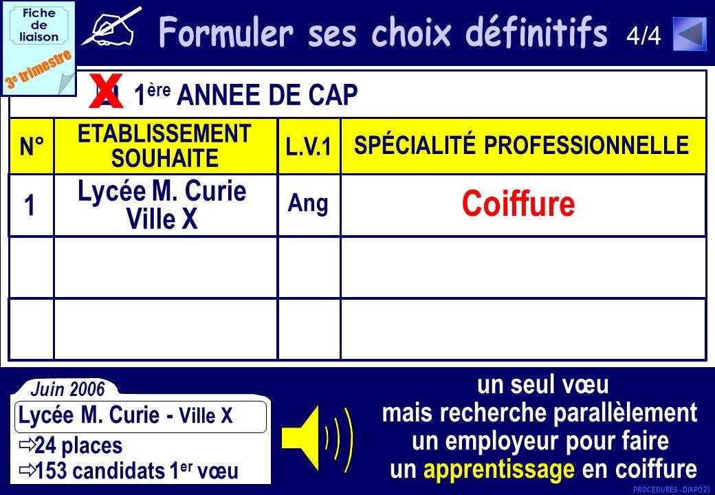 1 ère ANNEE DE CAP N° ETABLISSEMENT SOUHAITE L.V.1 SPÉCIALITÉ PROFESSIONNELLE 3 e trimestre x Coiffure Ang 1 Lycée M. Curie Ville X 24 places 153 cand