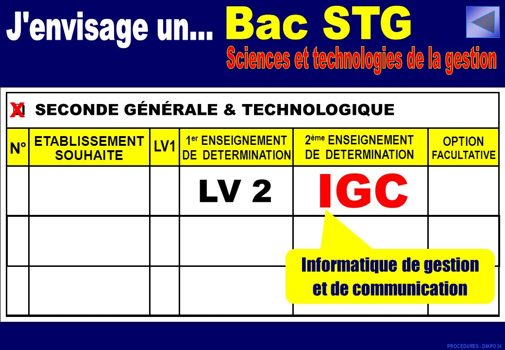 SECONDE GÉNÉRALE & TECHNOLOGIQUE N° ETABLISSEMENT SOUHAITE LV1 1 er ENSEIGNEMENT DE DETERMINATION 2 ème ENSEIGNEMENT DE DETERMINATION OPTION FACULTATIVE LV 2 x IGC Informatique de gestion et de communication PROCEDURES - DIAPO 34