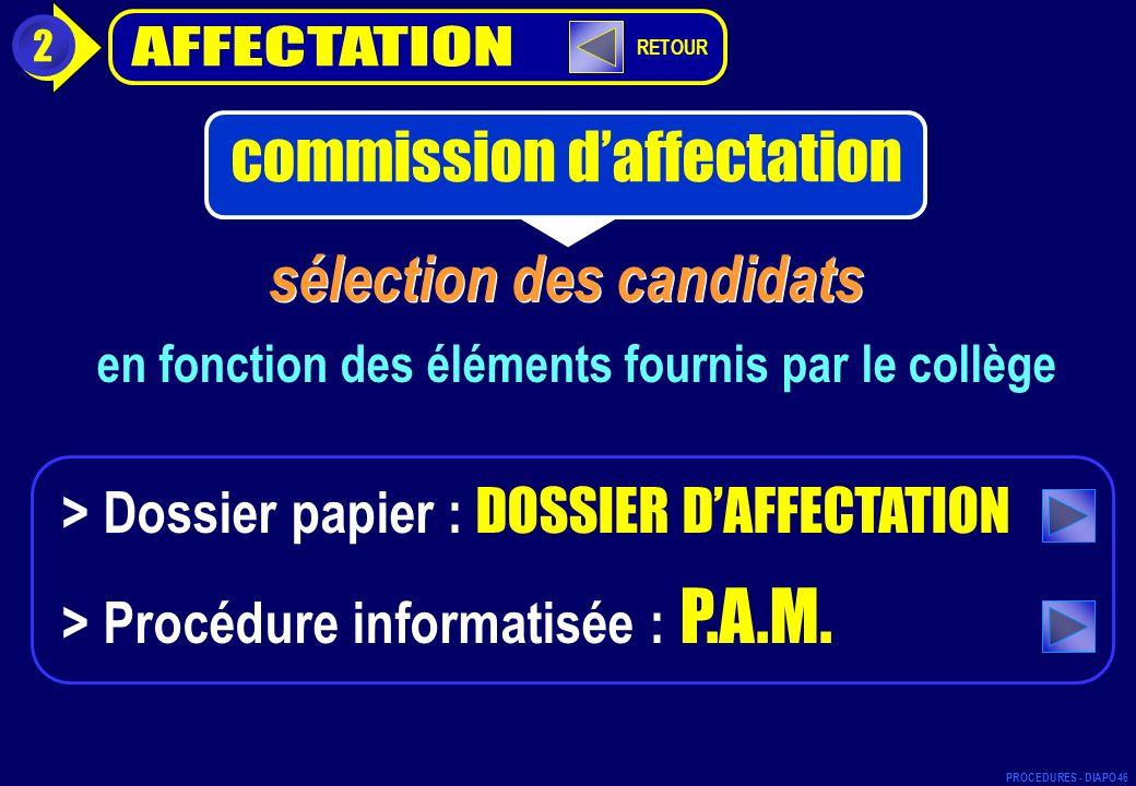 sélection des candidats en fonction des éléments fournis par le collège > Dossier papier : DOSSIER DAFFECTATION > Procédure informatisée : P.A.M. 2 co