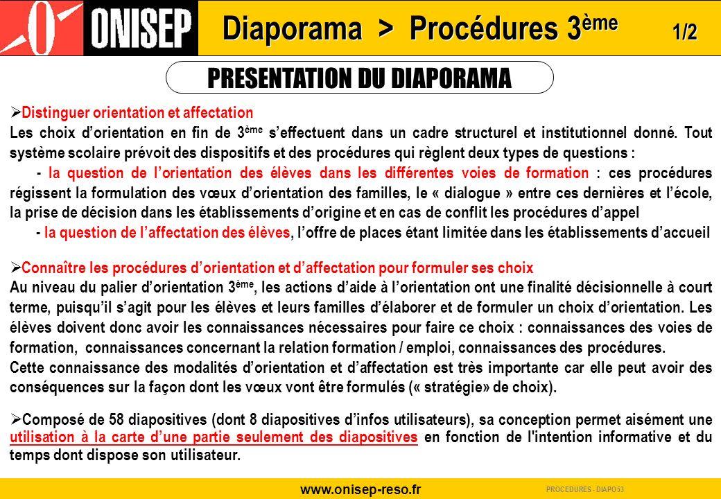 www.onisep-reso.fr PRESENTATION DU DIAPORAMA Distinguer orientation et affectation Les choix dorientation en fin de 3 ème seffectuent dans un cadre st