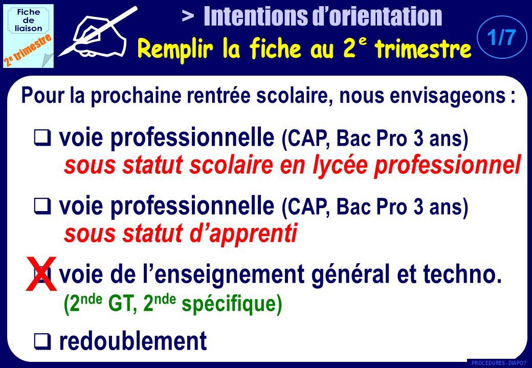 3 e trimestre CAP BAC PRO 3 ANS CFA : ……………………………………………………… Spécialité : ……………………………………………....