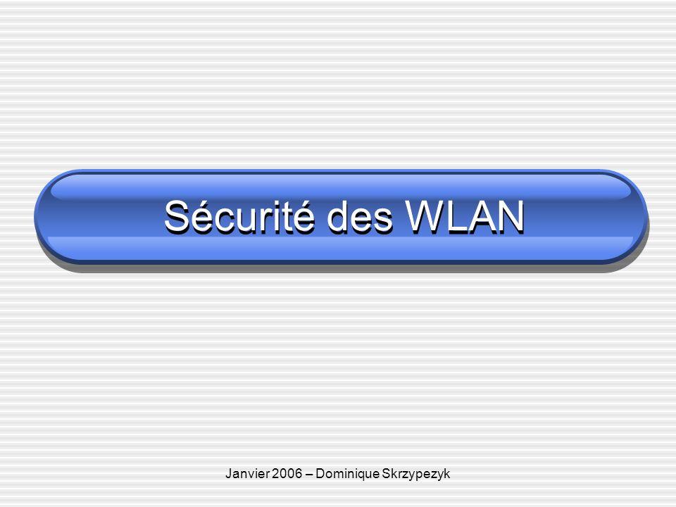 Janvier 2006 – Dominique Skrzypezyk Sécurité des WLAN