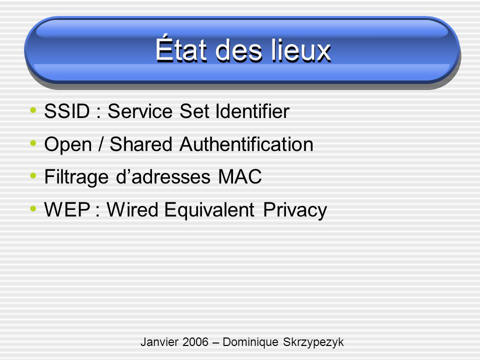 Janvier 2006 – Dominique Skrzypezyk État des lieux SSID : Service Set Identifier Open / Shared Authentification Filtrage dadresses MAC WEP : Wired Equ