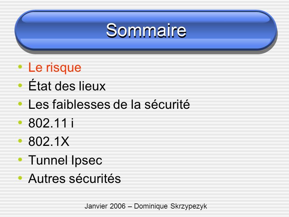 Janvier 2006 – Dominique Skrzypezyk Sommaire Le risque État des lieux Les faiblesses de la sécurité 802.11 i 802.1X Tunnel Ipsec Autres sécurités