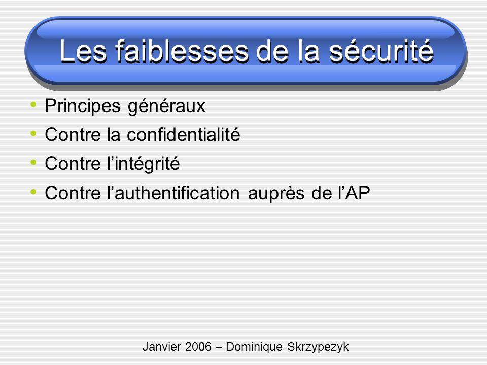 Janvier 2006 – Dominique Skrzypezyk Les faiblesses de la sécurité Principes généraux Contre la confidentialité Contre lintégrité Contre lauthentificat