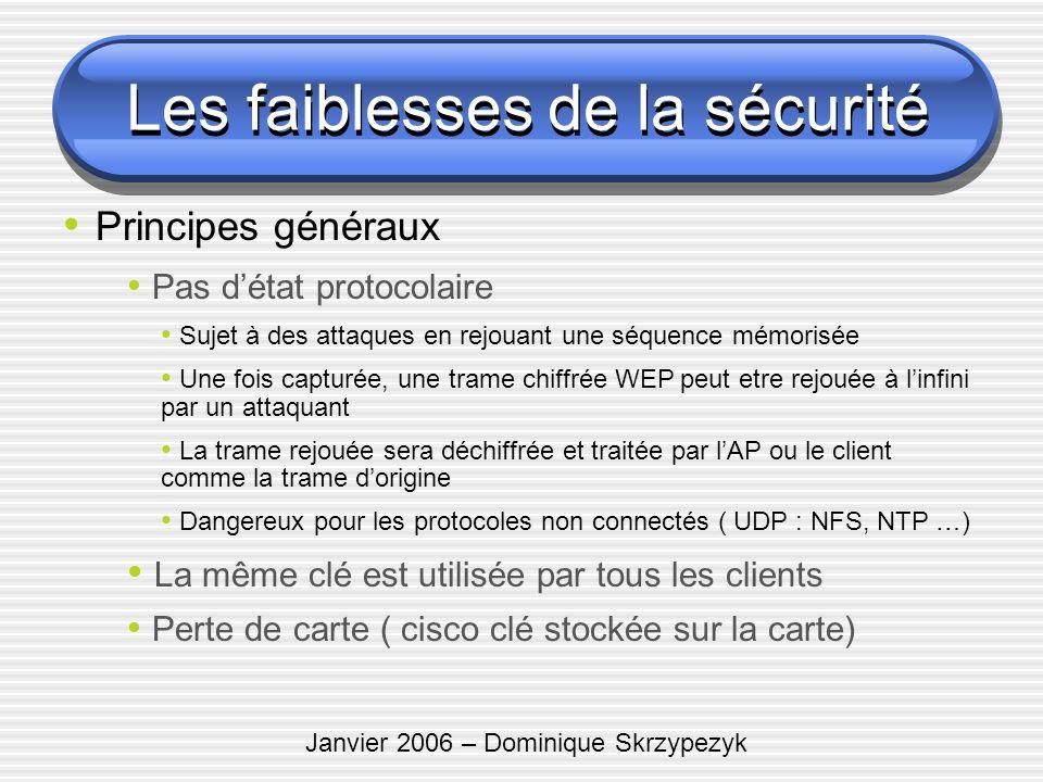 Janvier 2006 – Dominique Skrzypezyk Les faiblesses de la sécurité Principes généraux Pas détat protocolaire Sujet à des attaques en rejouant une séque