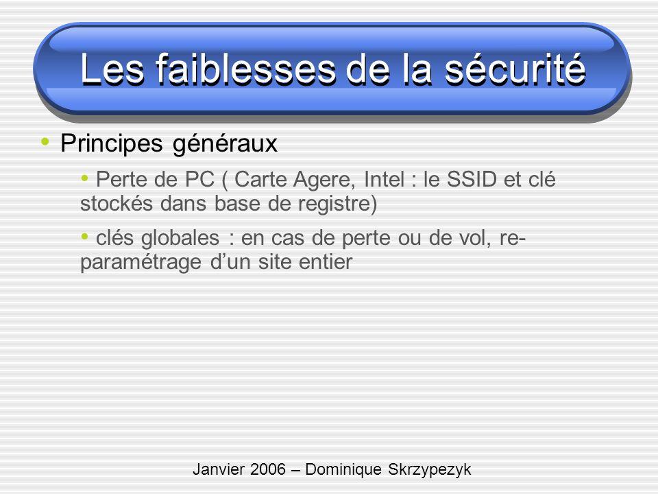 Janvier 2006 – Dominique Skrzypezyk Les faiblesses de la sécurité Principes généraux Perte de PC ( Carte Agere, Intel : le SSID et clé stockés dans ba