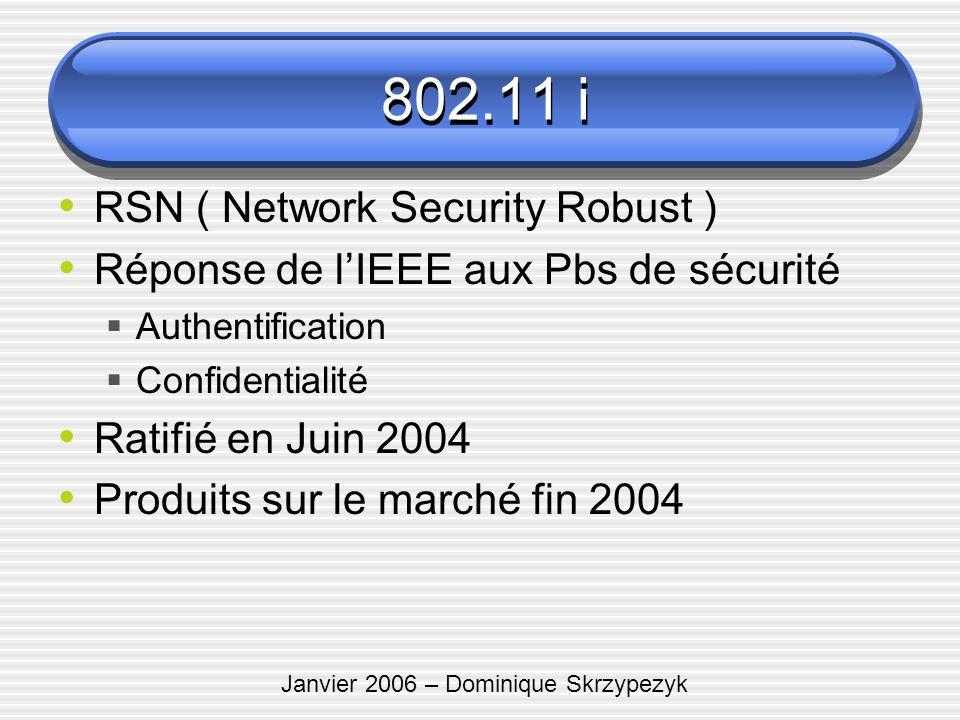 Janvier 2006 – Dominique Skrzypezyk 802.11 i RSN ( Network Security Robust ) Réponse de lIEEE aux Pbs de sécurité Authentification Confidentialité Rat