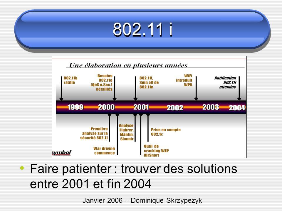 Janvier 2006 – Dominique Skrzypezyk 802.11 i Faire patienter : trouver des solutions entre 2001 et fin 2004