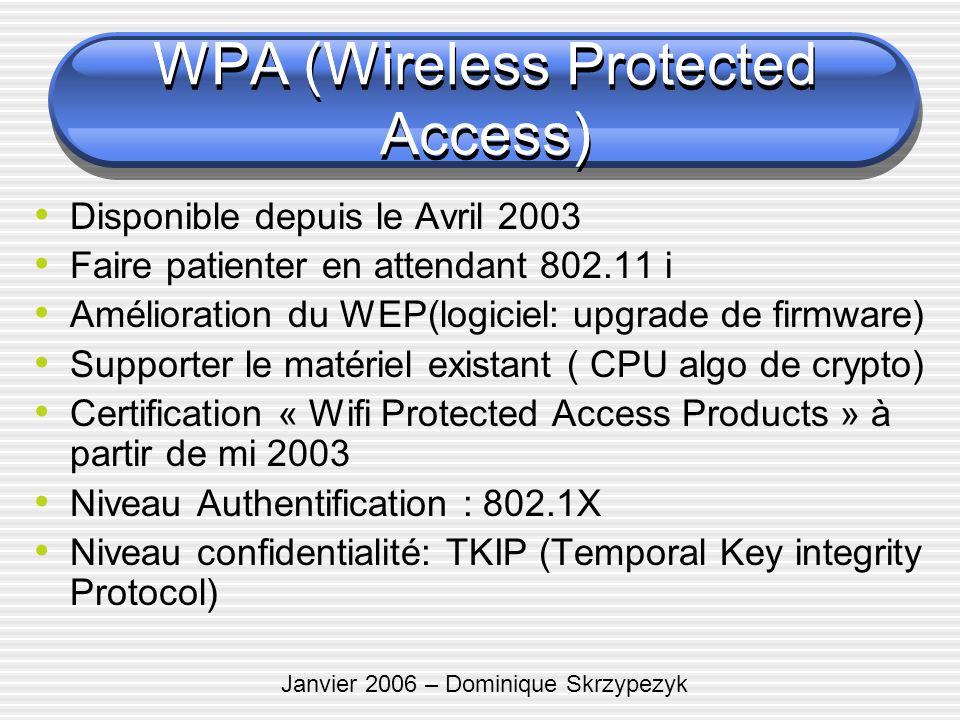 Janvier 2006 – Dominique Skrzypezyk WPA (Wireless Protected Access) Disponible depuis le Avril 2003 Faire patienter en attendant 802.11 i Amélioration