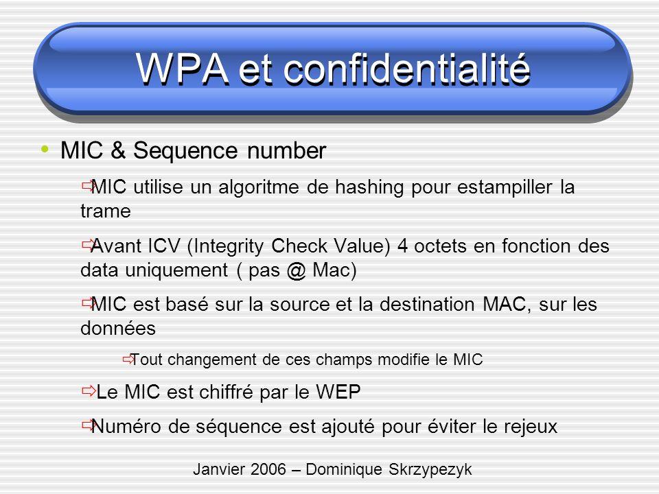Janvier 2006 – Dominique Skrzypezyk MIC & Sequence number MIC utilise un algoritme de hashing pour estampiller la trame Avant ICV (Integrity Check Val