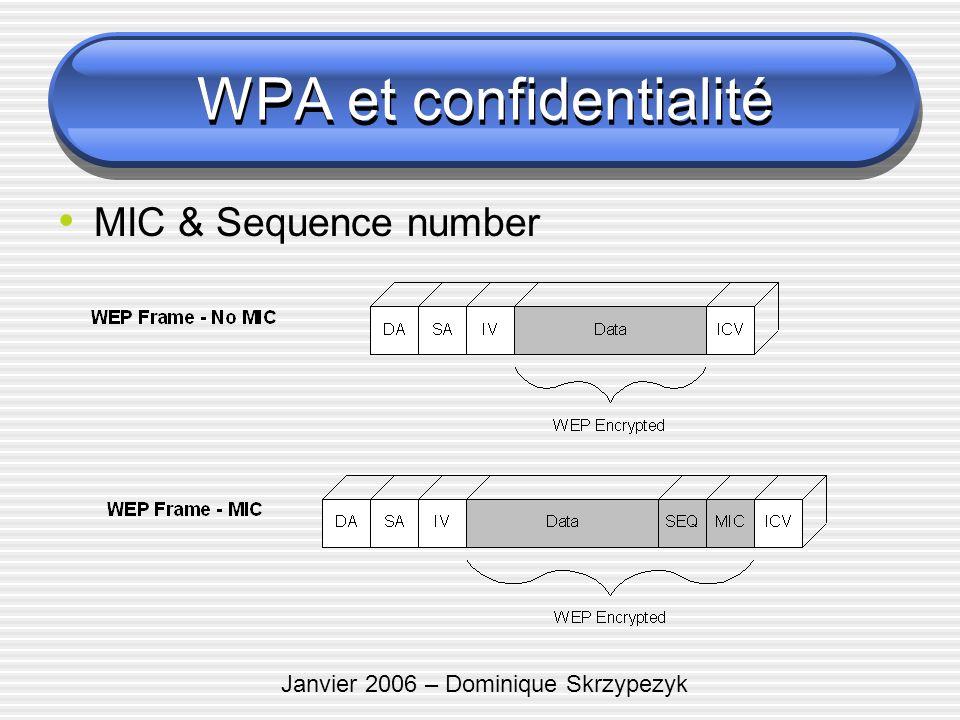 Janvier 2006 – Dominique Skrzypezyk MIC & Sequence number WPA et confidentialité