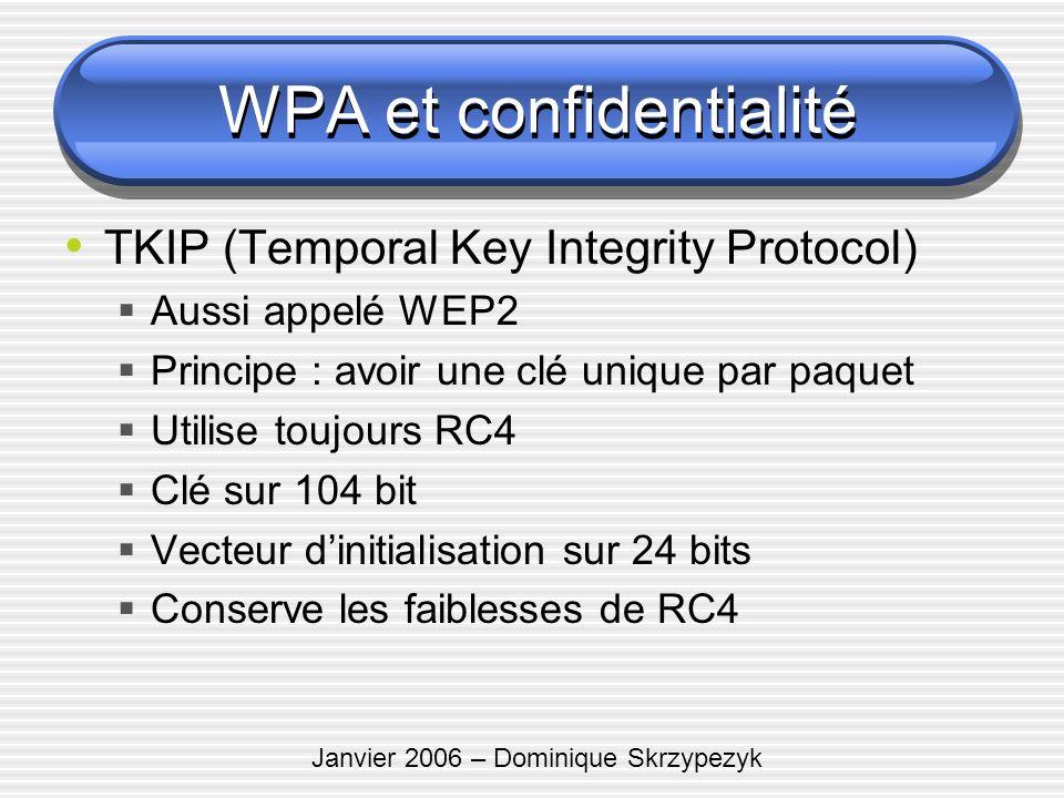 Janvier 2006 – Dominique Skrzypezyk TKIP (Temporal Key Integrity Protocol) Aussi appelé WEP2 Principe : avoir une clé unique par paquet Utilise toujou