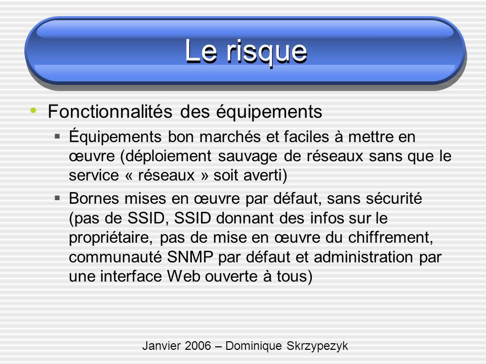 Janvier 2006 – Dominique Skrzypezyk Le risque Fonctionnalités des équipements Équipements bon marchés et faciles à mettre en œuvre (déploiement sauvag