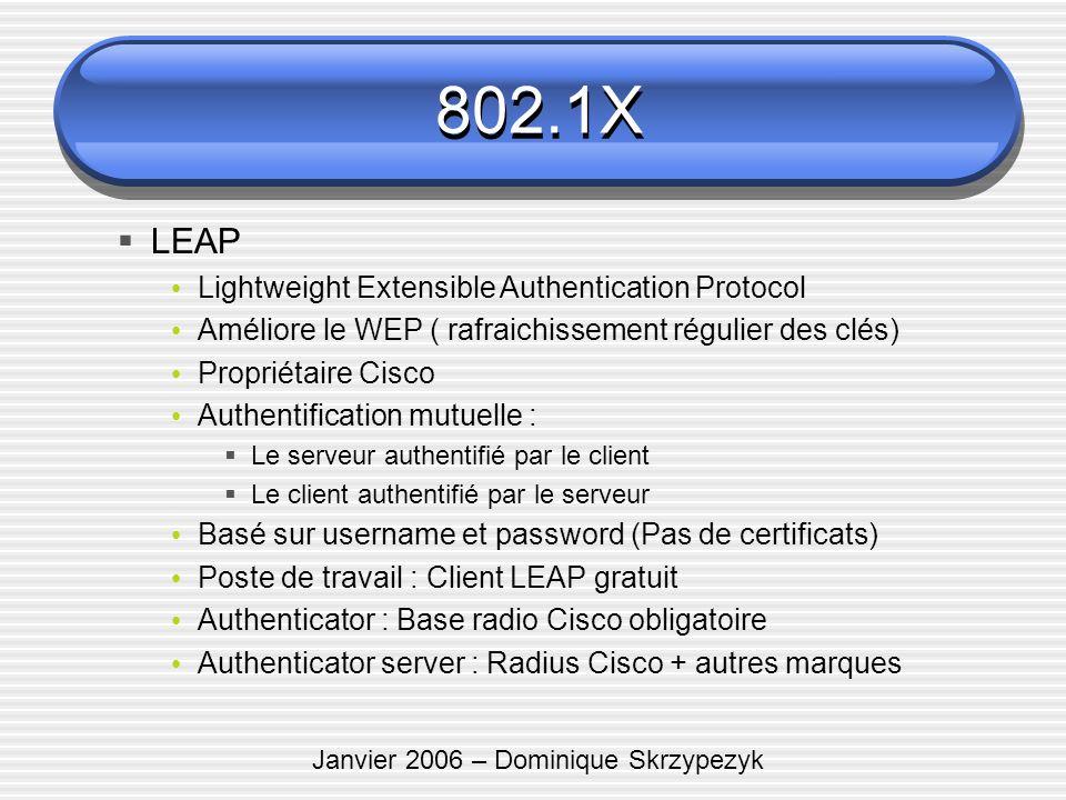 Janvier 2006 – Dominique Skrzypezyk LEAP Lightweight Extensible Authentication Protocol Améliore le WEP ( rafraichissement régulier des clés) Propriét