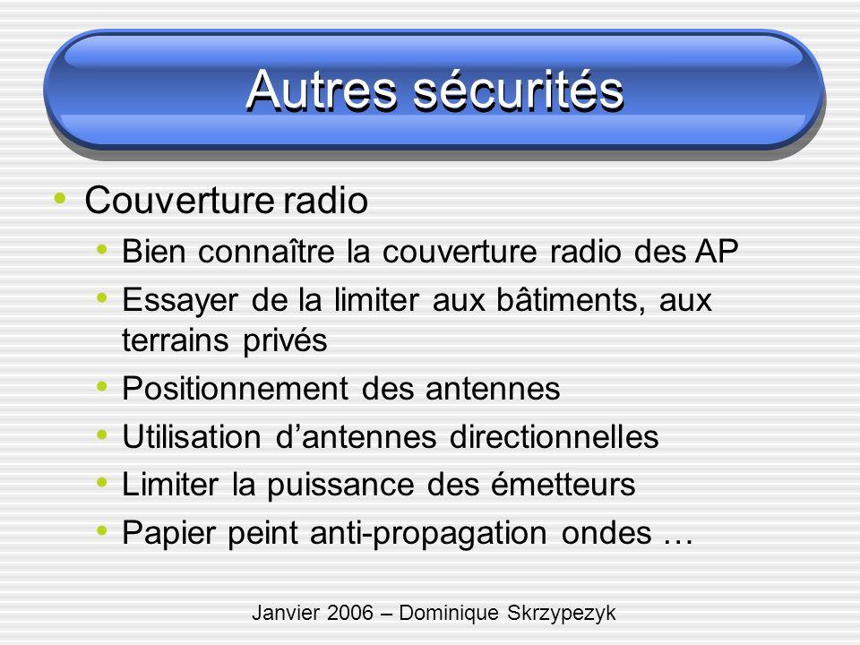 Janvier 2006 – Dominique Skrzypezyk Autres sécurités Couverture radio Bien connaître la couverture radio des AP Essayer de la limiter aux bâtiments, a