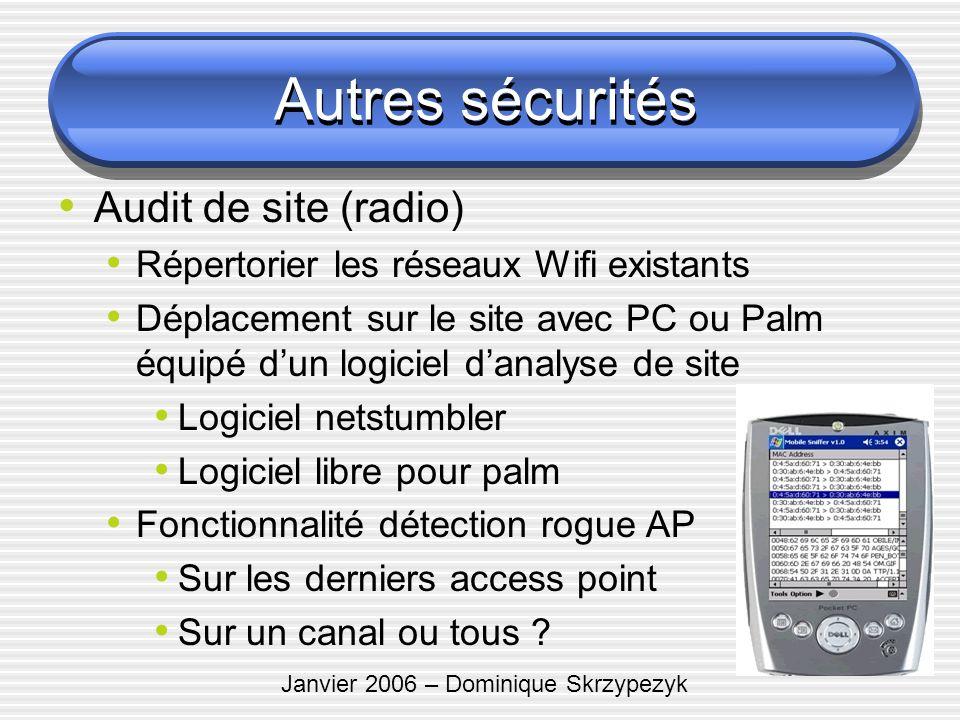 Janvier 2006 – Dominique Skrzypezyk Autres sécurités Audit de site (radio) Répertorier les réseaux Wifi existants Déplacement sur le site avec PC ou P