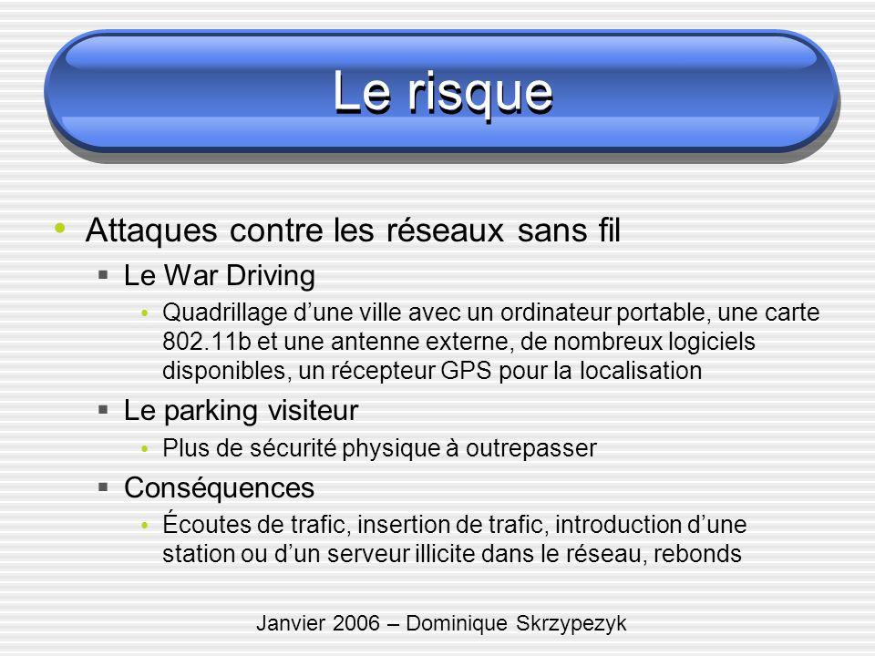 Janvier 2006 – Dominique Skrzypezyk Le risque Attaques contre les réseaux sans fil Le War Driving Quadrillage dune ville avec un ordinateur portable,