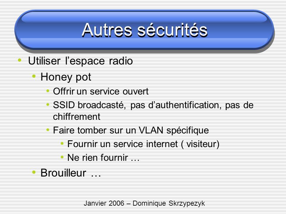 Janvier 2006 – Dominique Skrzypezyk Autres sécurités Utiliser lespace radio Honey pot Offrir un service ouvert SSID broadcasté, pas dauthentification,