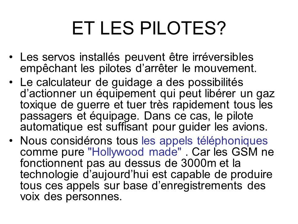 ET LES PILOTES? Les servos installés peuvent être irréversibles empêchant les pilotes darrêter le mouvement. Le calculateur de guidage a des possibili