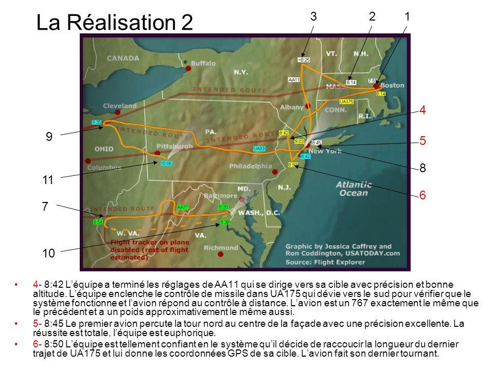 La Réalisation 2 4- 8:42 Léquipe a terminé les réglages de AA11 qui se dirige vers sa cible avec précision et bonne altitude. Léquipe enclenche le con