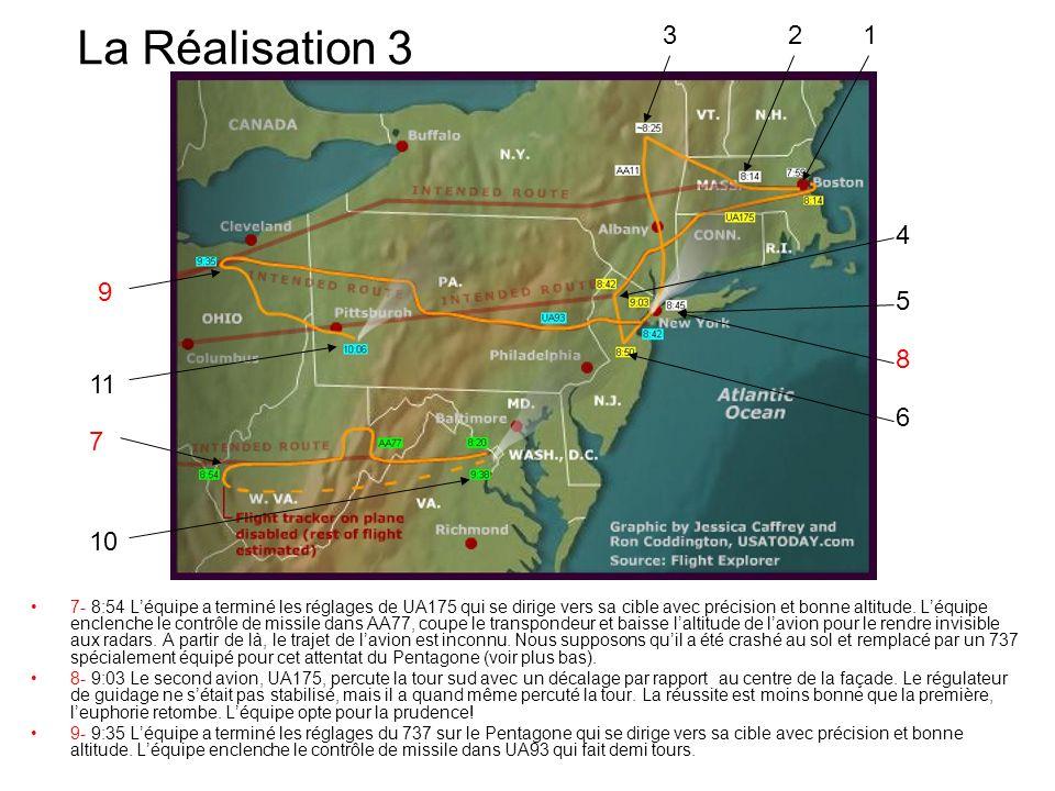 La Réalisation 3 7- 8:54 Léquipe a terminé les réglages de UA175 qui se dirige vers sa cible avec précision et bonne altitude. Léquipe enclenche le co