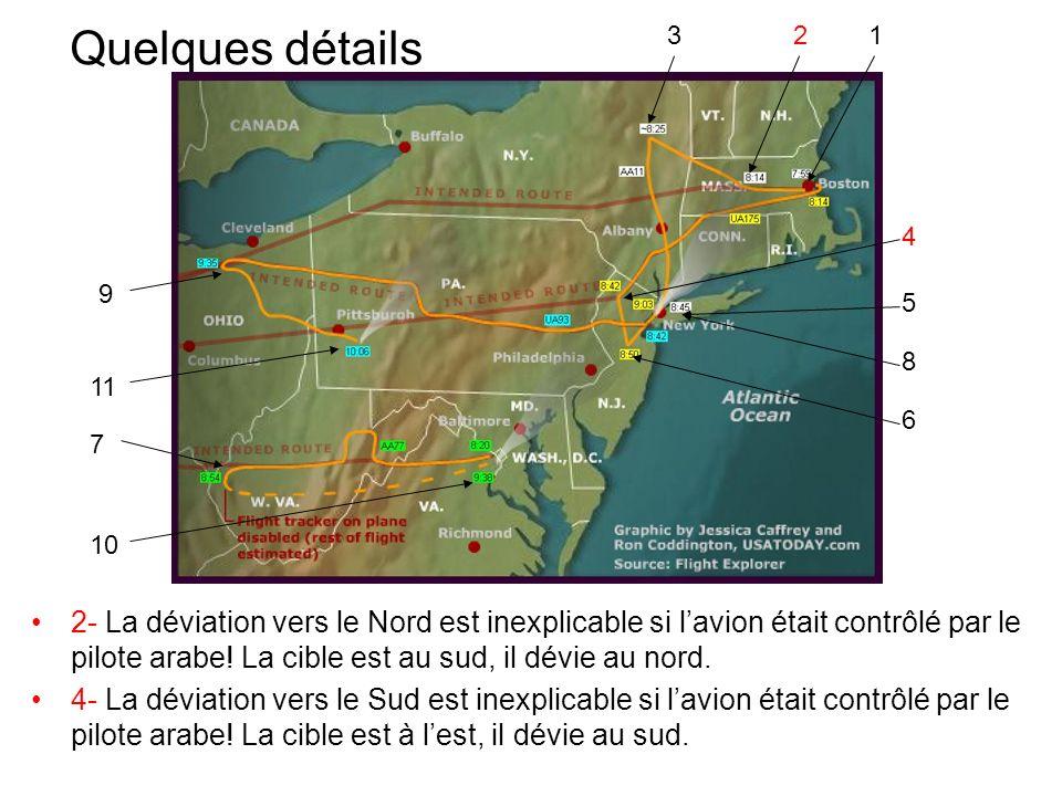 Quelques détails 2- La déviation vers le Nord est inexplicable si lavion était contrôlé par le pilote arabe! La cible est au sud, il dévie au nord. 4-
