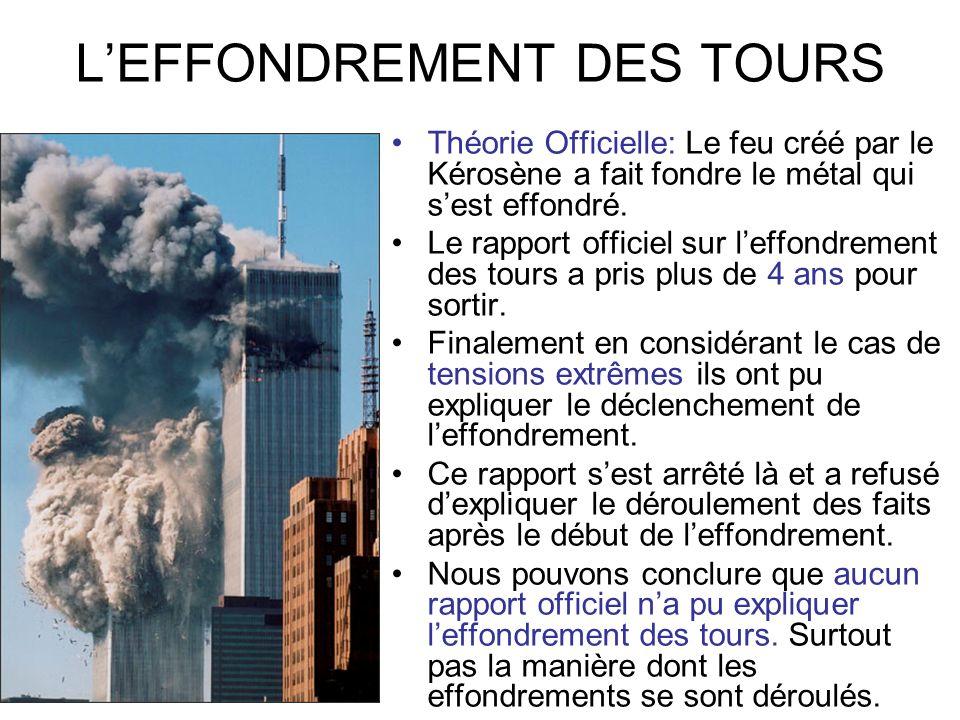 LEFFONDREMENT DES TOURS Théorie Officielle: Le feu créé par le Kérosène a fait fondre le métal qui sest effondré. Le rapport officiel sur leffondremen