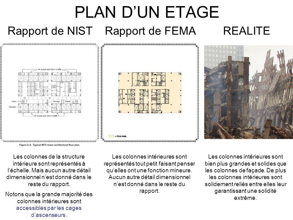 PLAN DUN ETAGE REALITERapport de NISTRapport de FEMA Les colonnes intérieures sont bien plus grandes et solides que les colonnes de façade. De plus le