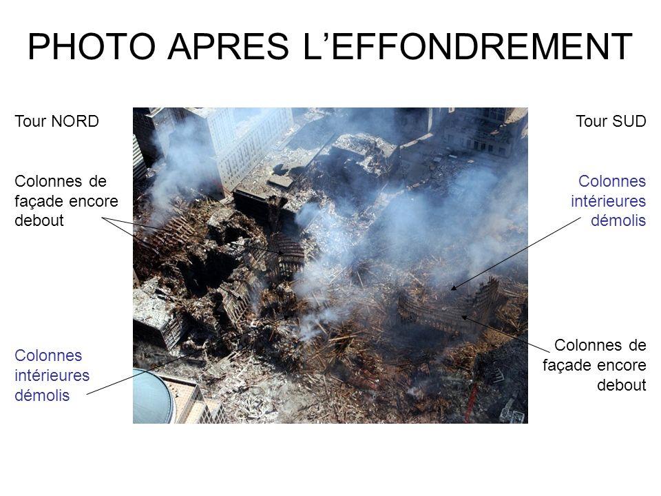 PHOTO APRES LEFFONDREMENT Tour NORD Colonnes de façade encore debout Tour SUD Colonnes intérieures démolis