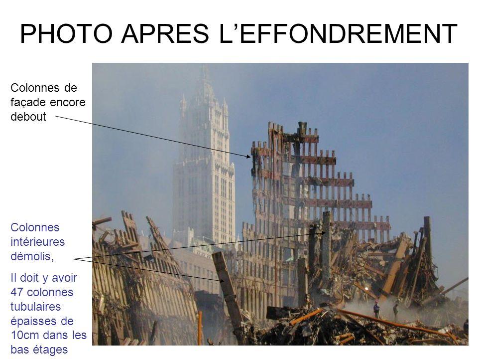 PHOTO APRES LEFFONDREMENT Colonnes de façade encore debout Colonnes intérieures démolis, Il doit y avoir 47 colonnes tubulaires épaisses de 10cm dans les bas étages