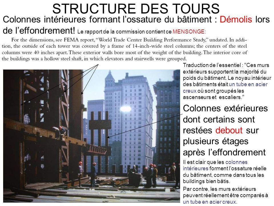 STRUCTURE DES TOURS Traduction de lessentiel : Ces murs extérieurs supportent la majorité du poids du bâtiment.