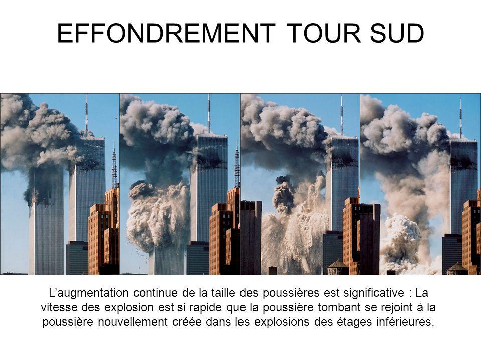 EFFONDREMENT TOUR SUD Laugmentation continue de la taille des poussières est significative : La vitesse des explosion est si rapide que la poussière tombant se rejoint à la poussière nouvellement créée dans les explosions des étages inférieures.