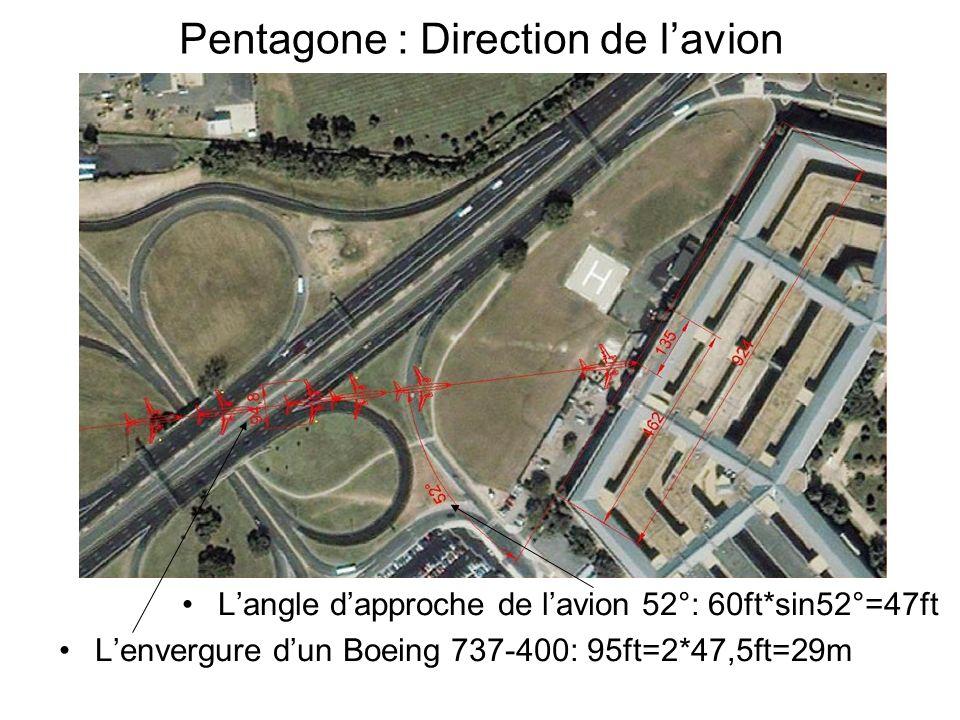 Pentagone : Direction de lavion Langle dapproche de lavion 52°: 60ft*sin52°=47ft Lenvergure dun Boeing 737-400: 95ft=2*47,5ft=29m