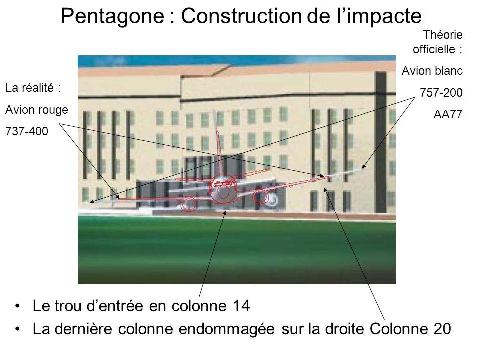 Pentagone : Construction de limpacte Le trou dentrée en colonne 14 La dernière colonne endommagée sur la droite Colonne 20 La réalité : Avion rouge 737-400 Théorie officielle : Avion blanc 757-200 AA77