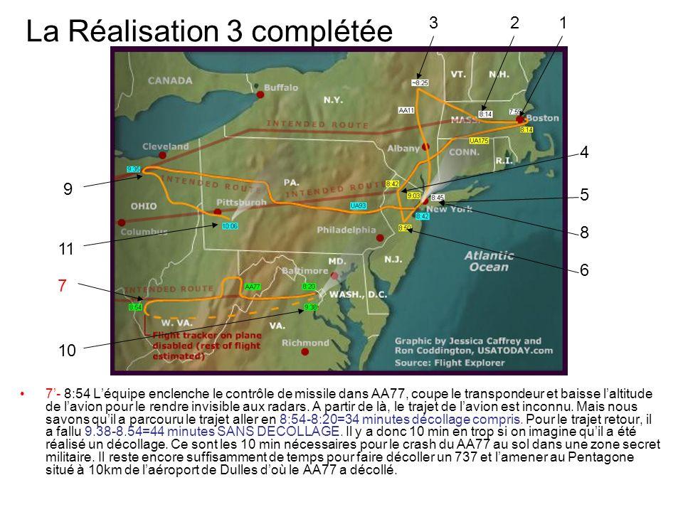 La Réalisation 3 complétée 7- 8:54 Léquipe enclenche le contrôle de missile dans AA77, coupe le transpondeur et baisse laltitude de lavion pour le ren